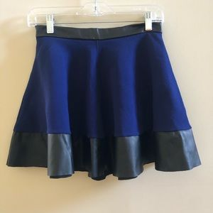 Topshop Royal Blue Flare Skirt with Leather Detail